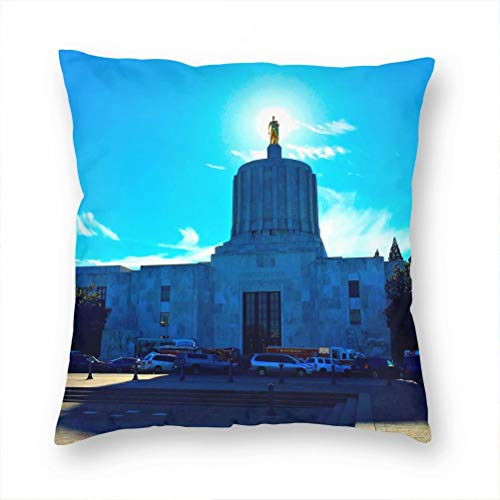 Usa America Oregon State Capitol Salem Pillow Case Decorative Cushion Cover Pillowcase Sofa Chair Bed Car Living Room Bedroom Office 18'x 18' KXR-6422