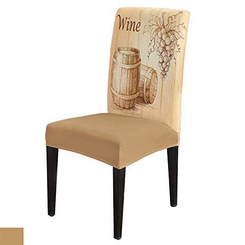 Dining Chair Slipcover Drawing Grape Wine Barrel Spandex Removable Stretch Dining Chair Protector Slipcovers Wood Grain Chair Seat Covers Set of 8