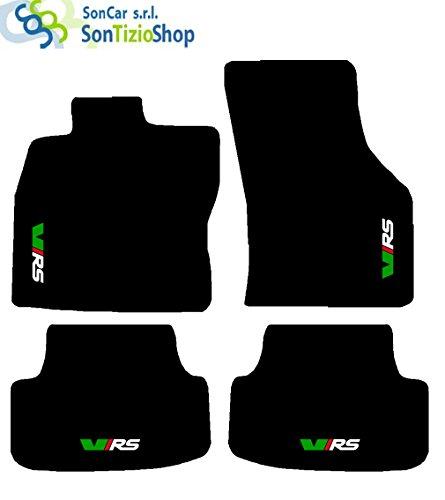 SonCar Teppiche Schwarz für Auto. Komplettset von Fußmatten handgefertigt aus Teppichboden und passgenau mit Stickerei: Bianco Verde Rosso