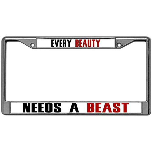 Firm and Light License Plate Frame Tag Every Beauty Needs a Beast Pack License Plate Frame Holder for US Cars Aluminum Alloy License Plate Frame with Screws Caps