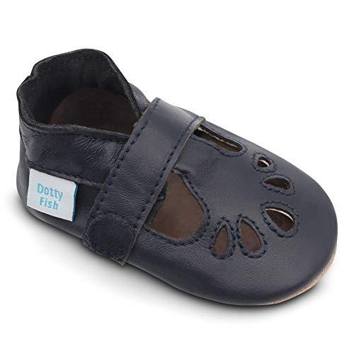 Dotty Fish Weiche Baby Lederschuhe. Klassische T-bar Schuhe für Mädchen Marineblau. 18-24 Monate (23 EU)