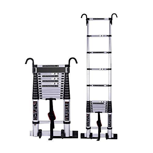 WXQIANG Escalera telescópica, Escalera Plegable del hogar, escaleras contra la Pared, aleación de Aluminio de Ingeniería Escalera - con Gancho (Cumple con la Norma EN131)