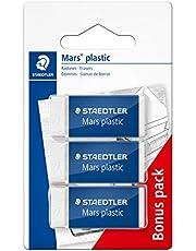 STAEDTLER Mars Plastic - Gomas de borrar (3 unidades), color blanco