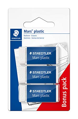 STAEDTLER 526 53 ABK3D Radierer Mars plastic mini phtalat- und latexfrei, 3 Stück auf Blisterkarte, 2 Stück und 1 Stück gratis, weiß