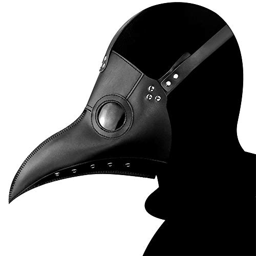 Voghtic Mscara de doctor de la plaga, nariz larga, de piel de pjaro negro, disfraz de Halloween, mscara steampunk para nios y adultos