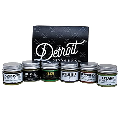 Detroit Grooming Co. Beard Butter Sampler - Includes 6 Different Scent All Natural Beard Butters (0.5 ounce each) for Best Conditioner and Growth - Great Gift, Travel Sized Portable Beard Balm for Men