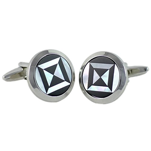 Boutons de manchette Homme G.CHABROLLE, Perlmutt / Onyx, im Etui 6093