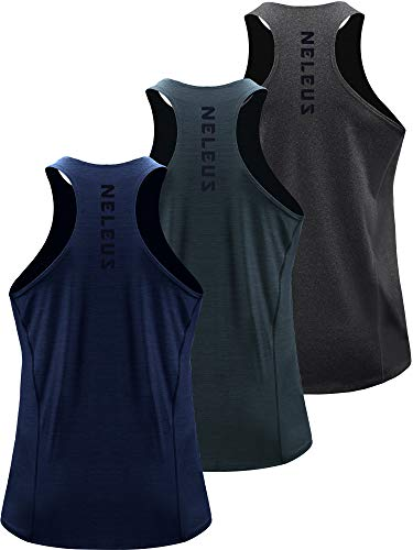Neleus Men's 3 Pack Running Tank Top Dry Fit Y-Back Athletic Workout Tank Tops,5069,Grey Black,Slate Gray,Navy,US L,EU XL