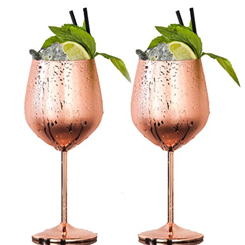 BIJANSEN 500ml Cups Edelstahl Champagner Tasse Weinglas Moscow Mule Copper Cups, Stainless Steel Cocktail Bar Set Bar Accessories,Moscow Mule Mug, Copper Cups Rose Gold,500ml WeinglasX2