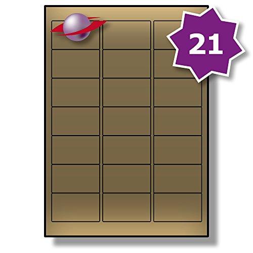 21 Pro Blatt, 5 Blätter, 105 Etiketten. Label Planet® Metallische Gold Papier Etiketten für Laserdrucker 63.5 x 38.1mm, LP21/63 LG.