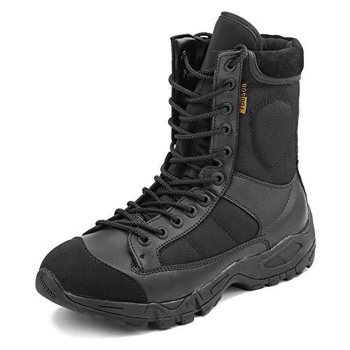 IODSON Zapatos de Hombre Botas/Botas de Combate/Botas Tácticas Ultra-Ligero Antideslizante Tela de Cuero Verdadero Transpirable JR-633
