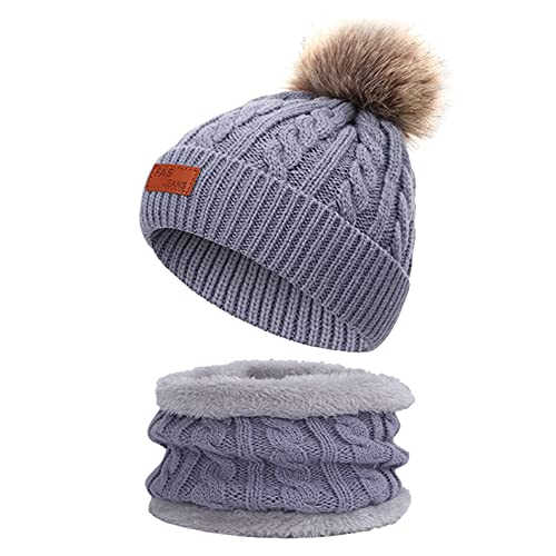 Yutdeng Conjunto de Gorro y Bufanda Niños Punto Beanie Gorros con Pompon cálido Bufanda Punto Calentador de Cuello Bebé Sombreros Set Invierno,1-Gris,Talla única