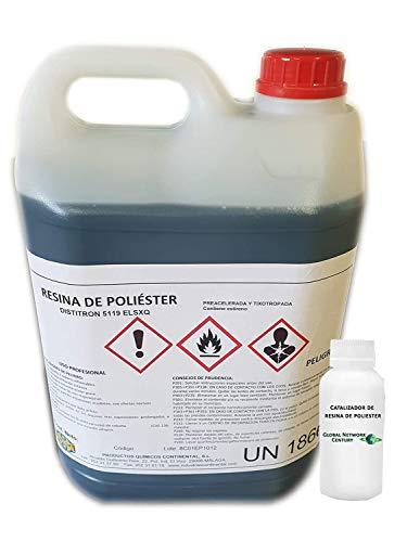 Resina de Poliester 5kg + catalizador 100grs Pack