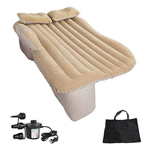 Car Air Mattress, SUV Rear Seat Air Bed with Pillow, Portable Rear Seat Air Bed, Suitable for Car, SUV, Truck Car Bed,Beige