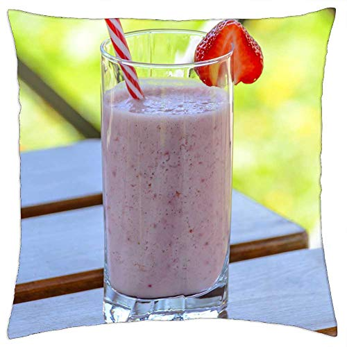 LESGAULEST Throw Pillow Cover (18x18 inch) - Strawberry Drink Kefir The Drink Strawberries