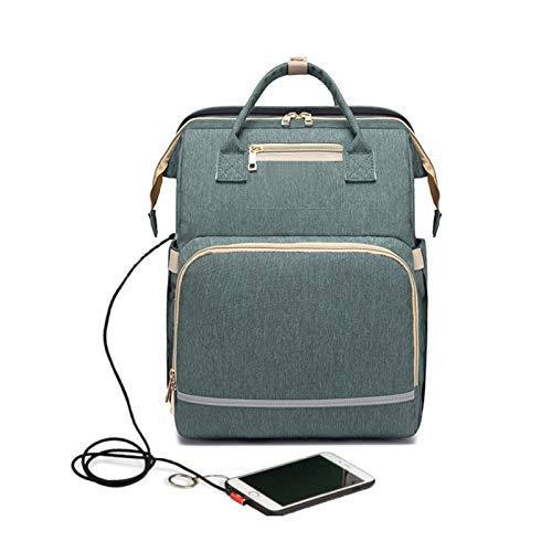 WILAIN Mochila USB Plegable Cuna con la Bolsa de Cambio de pañales Reflector Protector Solar Cuna Cochecito de Aislamiento de enfermería Bolsa (Color : Style 2 Green)