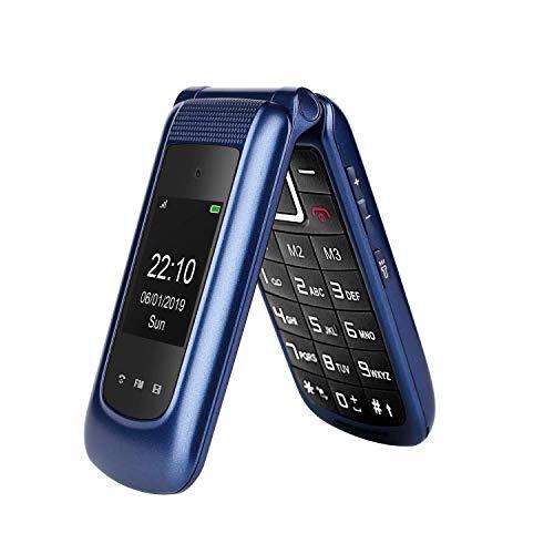 "Flip Cell Phone 3G Desbloqueado, Uleway 2.4""+ 1.8"" Dual Display, Big Button Dual SIM Senior Cell Phone, Large Volume & SOS Key Feature Phone for Seniors (Blue)"