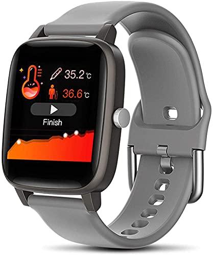 Muñeca Inteligente Reloj Inteligente Cuerpo Temperatura Medición de Pulsera Mujer Presión Arterial Monitor de Ritmo cardíaco Pulsera de Aptitud Reloj Deportivo (Color : Gray)