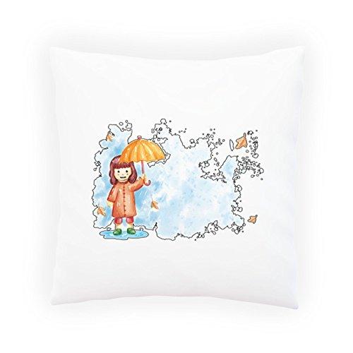 INNOGLEN Smile Mädchen Regenschirm Dekoratives Kissen, Kissenbezug mit Einlage/Füllung oder ohne, 45x45cm p756p
