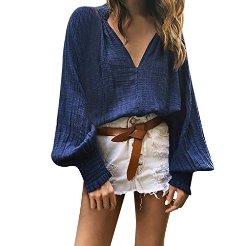 Why Should You Buy Autumn Blouse Women Loose Casual Pure Color Sexy Deep V Neck Lantern Sleeved Henl...