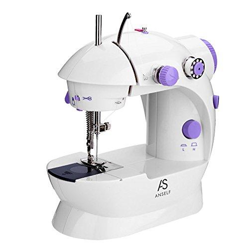 Blusea Vrije arm naaimachine, mini-naaimachine met dubbele naald en naailicht, 2 naaisnelheden