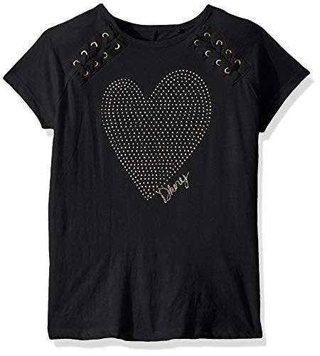DKNY Girls' Little Short Sleeve T-Shirt (More Styles Available), Lace It Up Dark Charcoal Heather, 4