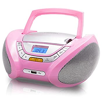 Lauson Woodsound CD Player Portable Boombox with FM Stereo Radio for Kids USB Port CD-R/CD-RW/MP3/WMA Playback AUX Input Headphone Jack  3.5mm  LCD Display AC-Battery Powered CP548  Pink
