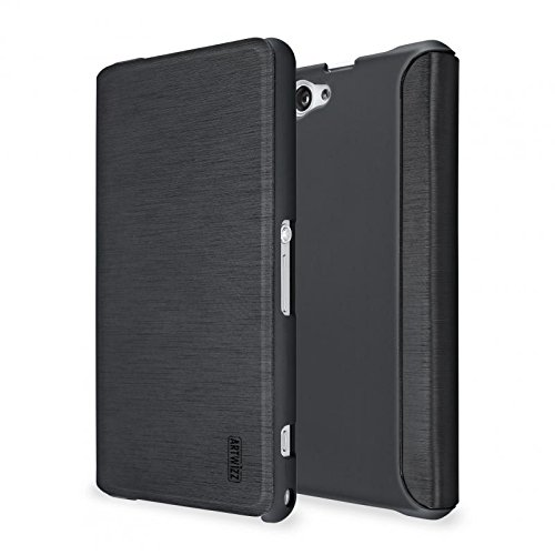 Artwizz 2940-1050 SmartJacket Etui für Sony Xperia Z1 Compact - Schutz-Hülle im Metall-Erscheinungsbild mit Frontcover, Rückseitenschutz & geschmeidigen Grip - Designed in Berlin - Schwarz