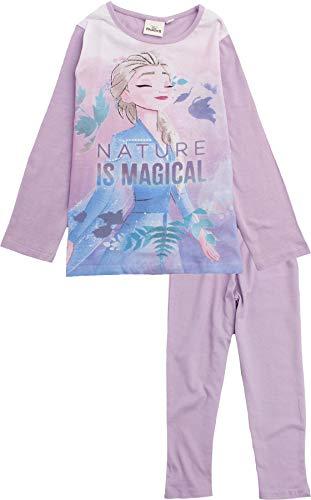 Disney Eiskönigin Schlafanzug Pyjama Langarm Mädchen (Lila, 104)