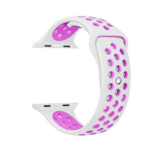Correa Compatible con Apple Watch Correa 38mm 40mm, 42mm 44mm, Reemplazo de Silicona Suave Correa Deportiva Agujeros Respirables Compatible para Series 5 4 3 2 1. (38 mm / 40 mm, Blanco/Rosa)