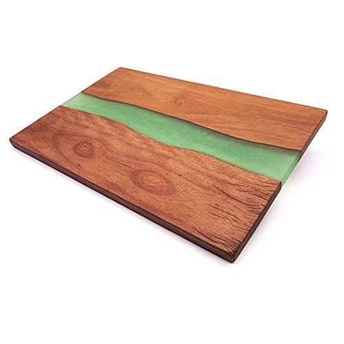 Eponox® Tabla de servir de madera de palisandro con resina epoxi, 29,5 x 19,5 x 1,2 cm, tabla de cocina, producto natural