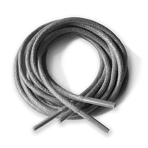 Lacci rotondi in cotone cerato, sottili, larghezza 2,5 mm, lunghezza 75 cm/100 cm/125 cm, per scarpe/stivali/brogue, grigio (Grey), 75cm