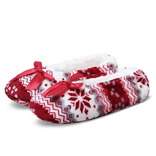 JARSEEN Weich und Warme Gefütterte Damen Kuschel Hausschuhe Stoppersocken mit Antirutsch-Sohle für Zuhause (EU 39-42, Schneeflocke Rot)