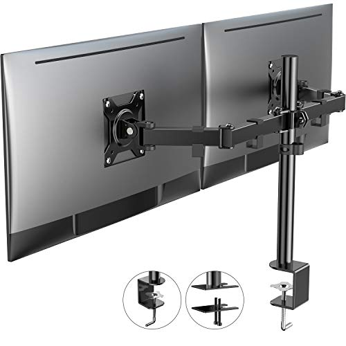 ATUMTEK Dual Monitor Desk Mount Stand - Full Motion LCD Monitor Arm with C Clamp and Grommet Base for 2 Computer Screens Up to 27 Inch [Height Adjustable, Holds Up to 17.6 lbs]