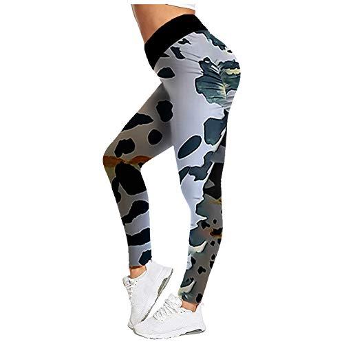 Pudyor Mujeres Leggins de Impresión Modas Pantalones Deportivos para Mujer Pantalón Transpirables Elásticos Leggings Push up de Cintura Alta Mallas de Yoga para Correr Gym Fitness