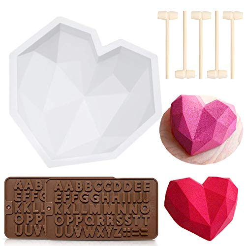 Candy & Chocolate Molds, 2 Pieces Diamond Heart Shape Mousse Cake Mold Trays, 2 Pieces Letter Chocolate Mold with 5 Pcs Wooden Hammers for DIY Baking Mousse, Cheesecake
