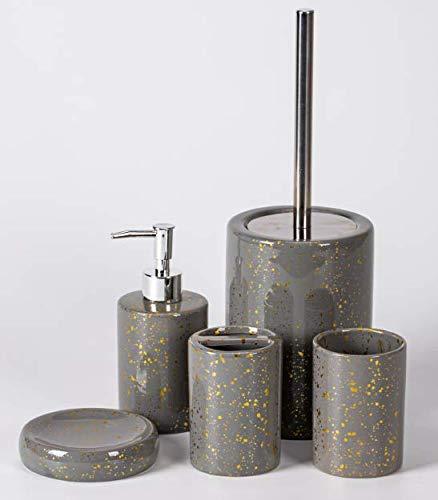 Zellerfeld Trendmax Marmor Badezimmer Set, Luxus-Badezimmer-Accessoires, stolvolle Badezimmer-Set oder Toiletten-Set Elegante Seifenspender in Marmor-Look, Grau/Gold