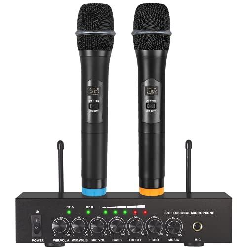 LiNKFOR Micro Karaoké sans Fil Bluetooth 4.2 Microphone sans Fil UHF500-599MHz Professional Bluetooth Echo Système de Microphone Portable avec Câble Audio de 6,35 mm RCA pour Mariage Fête DJ Église