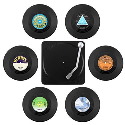 6 Stück Retro-Vinyl-Schallplatten-Untersetzer mit Halter, Getränkeuntersetzer, Tischsets, rutschfest, isoliert, für Kaffee und Getränke.