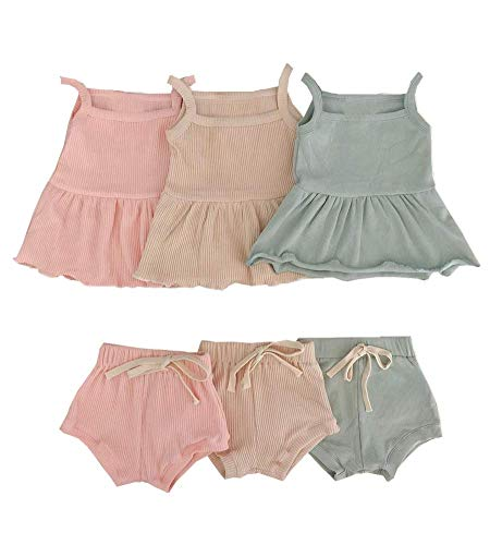 2PCS Newborn Baby Girls Summer Shorts Clothes Ruffle Dress Top Strap Sleeveless Shirt + Cotton Shorts Pants Ribbed Outfits Pink
