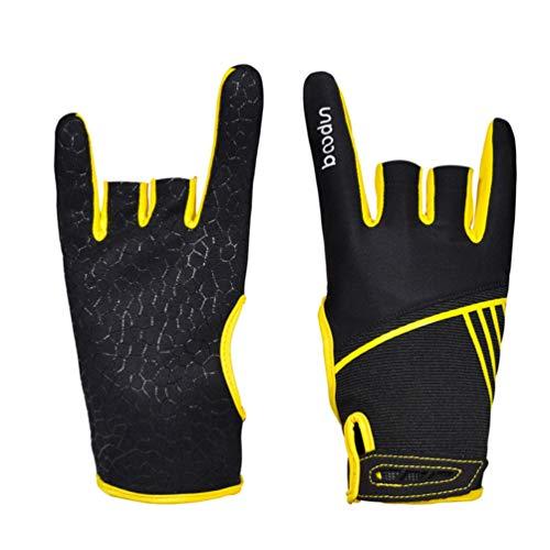 EXCEART 1 Paar Bowlinghandschuhe Bequemes Bowlingzubehör Halbfingerinstrumente Sporthandschuhe Handschuhe zum Bowling - Größe S/M (Gelb)