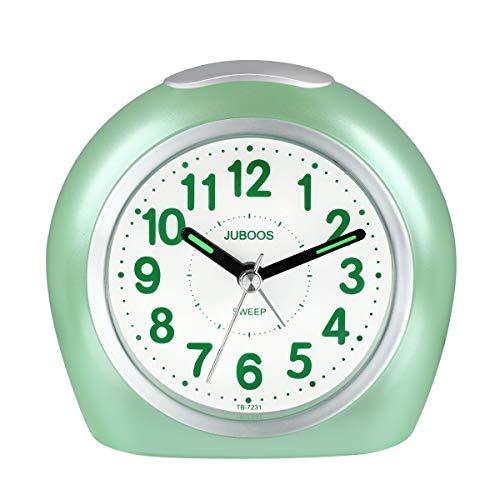 Kinderwekker jongens, wekker kinderen analoge wekker zonder tikken geruisloze wekker met nachtlampje voor jongens meisjes jongens-groen