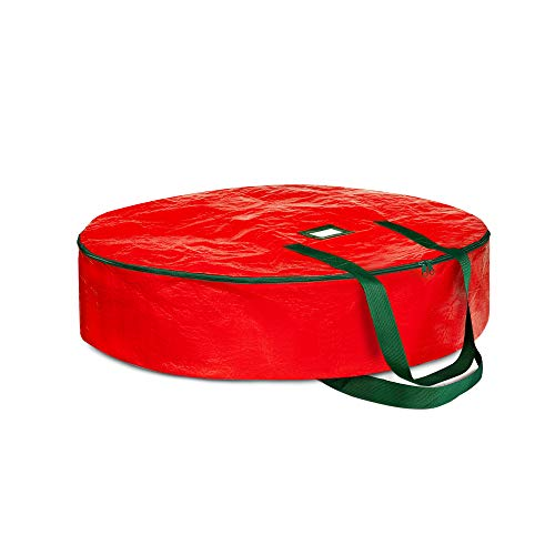 ZOBER Christmas Wreath Storage Bag 24' - Water Resistant Fabric Storage Dual Zippered Bag for Holiday Artificial Christmas Wreaths, 2 Stitch-Reinforced Canvas Handles, Card Slot for Labeling