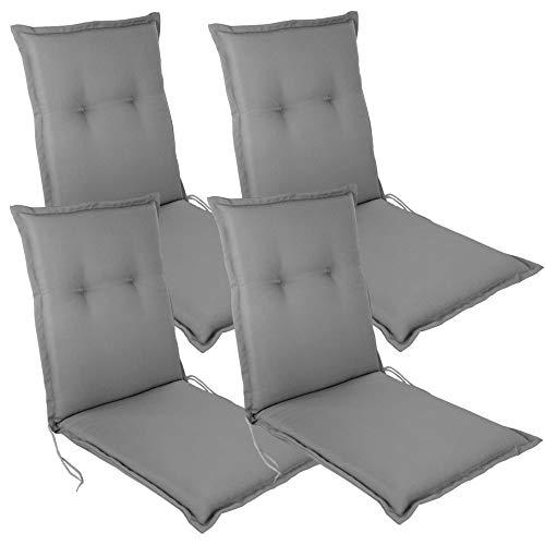 DILUMA Niedriglehner Auflage Eleganza für Gartenstühle 100x50 cm 4er Set Grau - 6 cm Starke Premium Stuhlauflage mit Komfortschaumkern - Sitzauflage Made in EU
