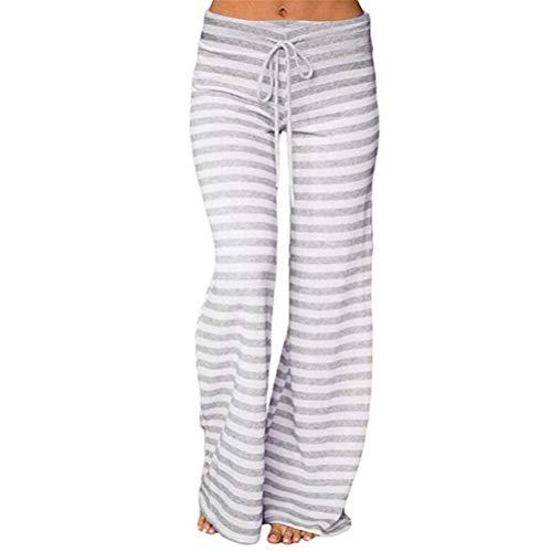 Pantalones Anchos Marlene para Mujer Otoño Invierno 2018 Moda PAOLIAN Casual Pantalones Yoga Acampanados Vestir Baratos Palazzo Pantalon señora Tallas Grandes Estampado Rayas Ropa para Mujer