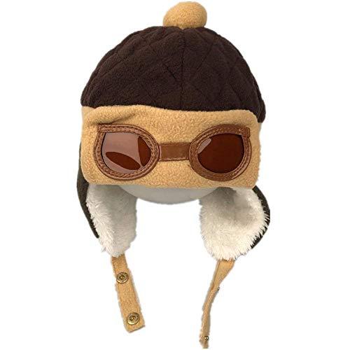 HunterBee Baby Winter Pilotenmütze, super niedlich, warm, Pilotenmütze, Häkelmütze mit Ohrenklappen und Brille, coffee, Einheitsgröße