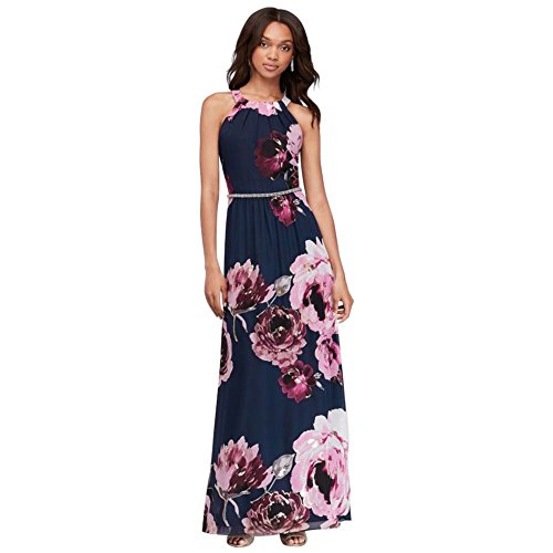Floral Print Chiffon Halter Mother of Bride/Groom Dress with Beaded Belt Style 9171244, Navy, 16