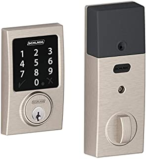 Schlage Z-wave Connect Century Touchscreen Deadbolt with Extra Key, Compatible with Alexa via SmartThings, Wink etc., Satin Nickel, BE468-CEN-619-2KA