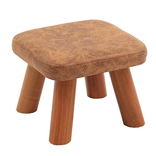 WHOJA Taburete para reposapiés Banco de zapatos de madera maciza Relleno de esponja de alta densidad. Cómodo y transpirable Carga 100kg Taburete de sofa Taburete Bajo De (Size:28cm,Color:Marrón claro)