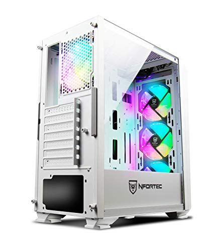 Nfortec - Krater Tower per PC con vetro temperato e 4 ventole RGB da 120 mm incluse (compatibile con schede madri Gigabyte bianco